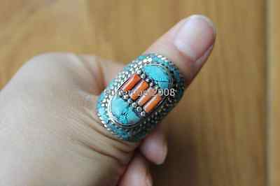 Handcrafted Tibetan Silver Full Turquoise Ring Vintage Nepal Thumb Ring US Size9