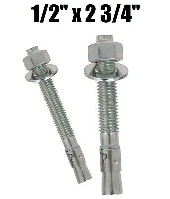 "(Qty 250) 1/2-13 x 2-3/4"" Concrete Wedge Anchor Zinc Plated"