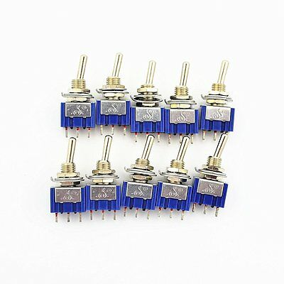 10Pcs 3 Pin 2 Position On-On SPDT Mini Latching Toggle Switch AC 125V/6A 250V/3A