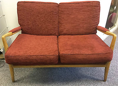 Vintage Midcentury Modern 1950s Cintique Two 2 Seater Sofa Settee Blond Wood Red