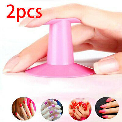 2pcs Finger Rest Holder Stand Polish Home Airbrush Pink Nail Art Tools