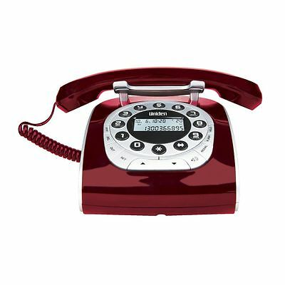 2 x UNIDEN MODRO 15 RED RETRO STYLE CORDED PHONE TELEPHONE OLD STYLE HOME PHONE