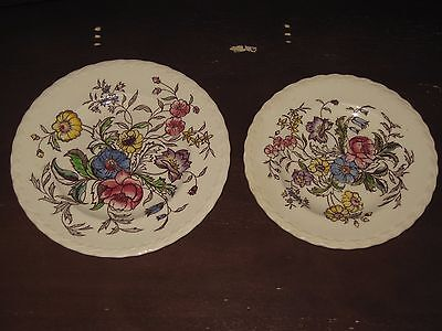 "Vernon Kilns Vernonware Mayflower 6-1/2"" Bread & 7-3/8"" Salad Plate Lot"