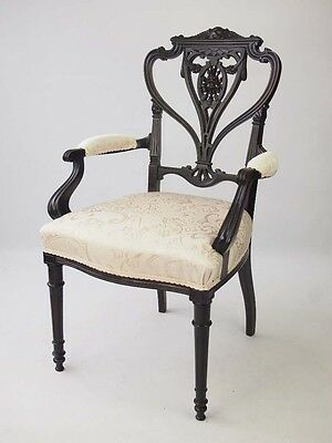 Antique Edwardian Chair -Gothic Armchair Desk Dining Carver Hall Bedroom