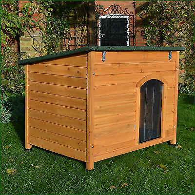 Large Wooden Dog Kennel Sloped Roof Kennels Dog House Puppy Opening Roof +