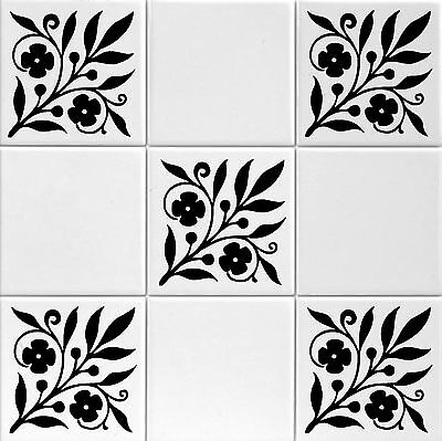 """Tile Transfers floral stickers for Bathroom to fit 4"""" or 6"""" Tiles. pack of 12"""