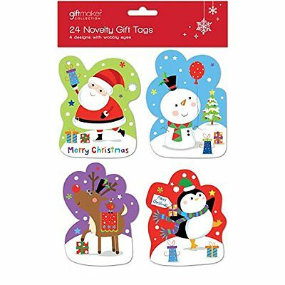 Christmas Novelty Gift Tags with Wobbly Eyes - 24 Pack