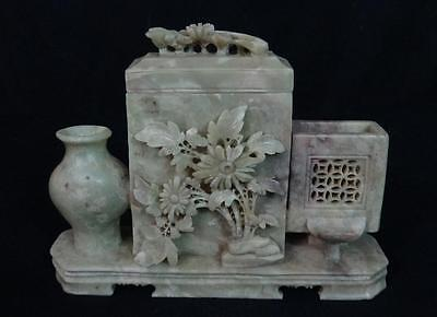 Vintage Oriental Soapstone Carved Vase with Compartment Nice!