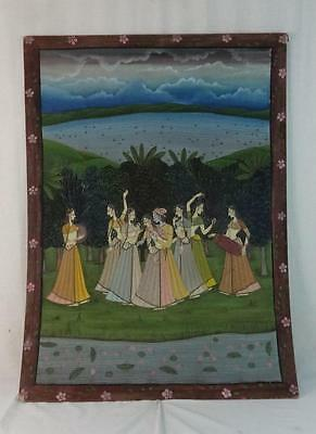 Antique Large Painted on Fabric Scene of Asian Style Dressed Ladies