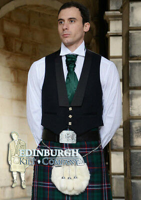 Scottish Prince Charlie 3-Button Pure Wool Kilt Waistcoat / Vest- Size Options!