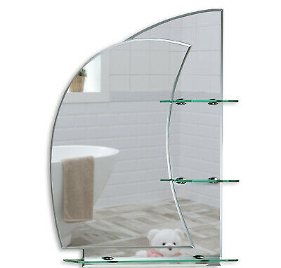 BATHROOM MIRROR With Shelves Stunning NAUTICAL Design Plain Wall Hung Shelf 2AE