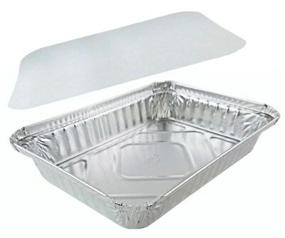 """Handi-Foil 1 1/2 lb Oblong """"Shallow"""" Take-Out Food Storage Container w/Board Lid"""