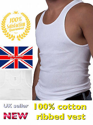 MENS RIBBED VEST 100% men cotton tank top gym sleevelss summer 1 3  S M L XL XXL