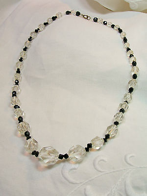 Antique Victorian or Edwardian Crystal and Jet Necklace ~ Graduated & faceted