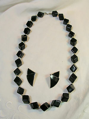 Vintage 1980's Black Acrylic w Silver tone Necklace & Matching Enameled Earrings