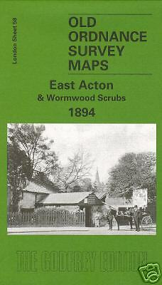 Old Ordnance Survey Map East Acton & Wormwood Scrubs 1894
