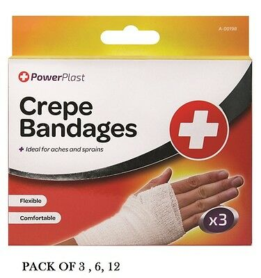 3, 6, 12 Pack Assorted Size CREPE BANDAGES IDEAL FOR ACHES & SPRAINS- FAST AIDS