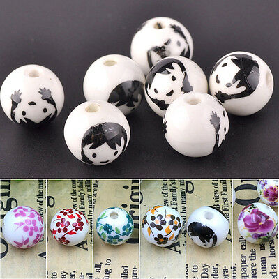 10pcs Round Ceramic Porcelain Flower Pattern Charms Loose Beads Jewelry 12mm