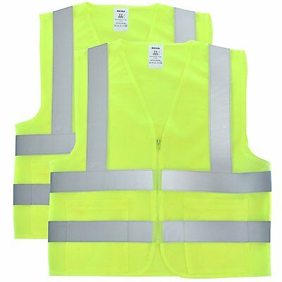 2 Pockets Solid Mesh High Visibility Safety Vest, ANSI/ ISEA 107-2010/ 2 pack