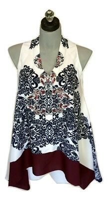 Ruby B V-Neck Sleeveless Royal Blue / White / Maroon Trimmed Print Blouse