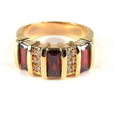 R#9479 simulated Red Garnet Gemstone ladies yellow gold plate ring size 7.75
