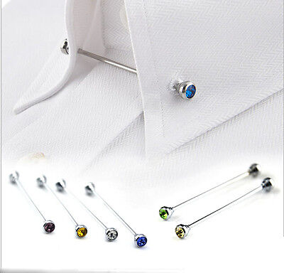 Mens Shirt Kit Barbell Ball Ended Brooch Collar Tie Pin Clasp Tie Collar Bar