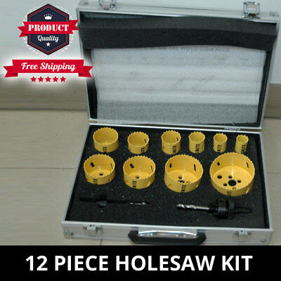 12 Piece Hole Saw Kit Bi-Metal Combination Holesaw Kit Wood Metal Set New