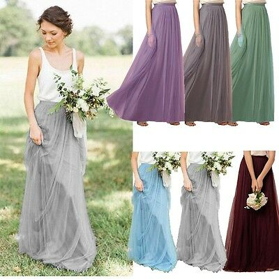 Women Girls A Line Long Maxi Tulle Tutu Dress Princess Ballet Skirt Prom Gown