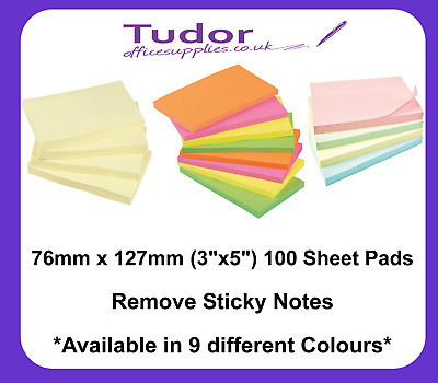 """Yellow Remove Sticky Post It Notes 76mm x 127mm 3"""" x 5"""" (1 x pack of 100)"""