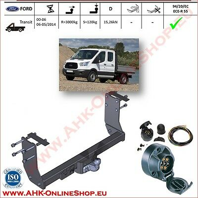 TOWBAR with Electrics 12N 7pin Ford Transit Cab Chassis 2000- | Flange Tow Ball