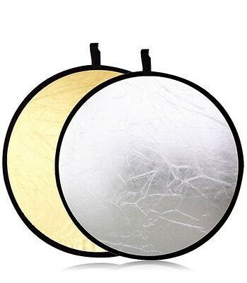 """32"""" 80cm 2 in 1 Silver And Gold Collapsible Disc Reflector For DSLR Camera Flash"""