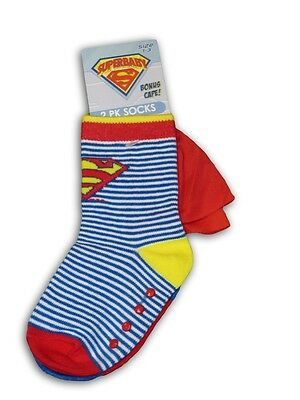 Boys SUPERMAN / Superbaby Socks - 2 pack ~ Size 00 - 1 (0 - 6 months) ~ NEW