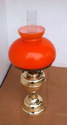 Vintage Brass Oil Lamp & Double Burner with Orange Colour Shade & Glass Chimney