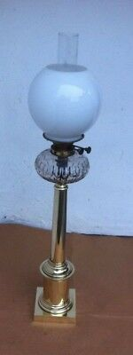 Victorian Brass & Cut Glass Corinthian Column Oil Lamp Hinks & Sons Patent
