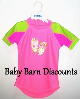 Bright Bots - Size 1 - Short Sleeve Rashie - Thongs - Hot Pink with Green Sho...