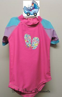 Bright Bots - Size 2 - Short Sleeve Rashie - Thongs - Hot Pink with Blue and ...