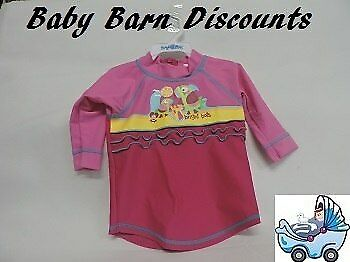 Bright Bots - Size 2x0 - Long Sleeve Rashie - Toucans - Pink with Pink Sleeves