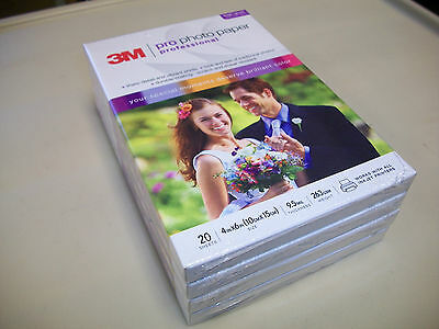 Lot of 4 Packs 3M Professional Photo Paper 4x6 - 20 Sheets Each Pack (80 total)