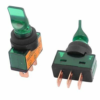 5 Pcs  SPDT 2 Position ON-OFF 12mm Thread Green Car Toggle Switch DC12V 20A