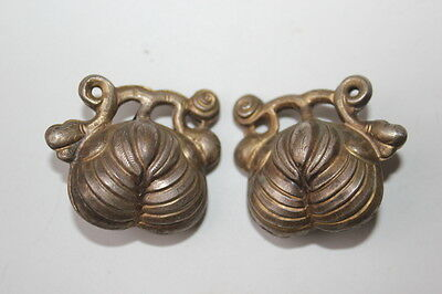 Pair Antique Chinese Fruit Leaf Shape Silver Bell