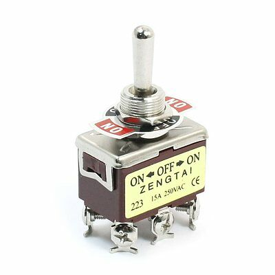 Momentary DPDT (ON)-OFF-(ON) 3 Position 6Pin  Toggle Switch AC 250V 15A
