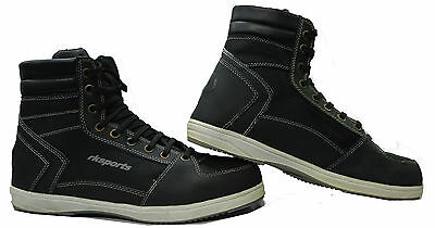 Rksports Motorcycle Motorbike Black Casual Trainer Boots