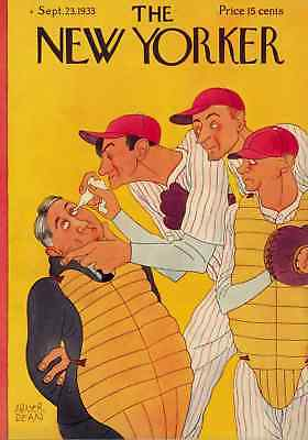 NYer Magazine cover Baseball umpire eye drops humor poster art print SKU2370