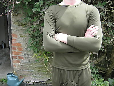 British Army Thermal Top Shirt Cold Weather Underwear Military Surplus Green