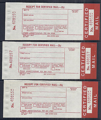1957 US Certified Mail Receipt Label, POD Form 3800 - Unused Lot of 3*