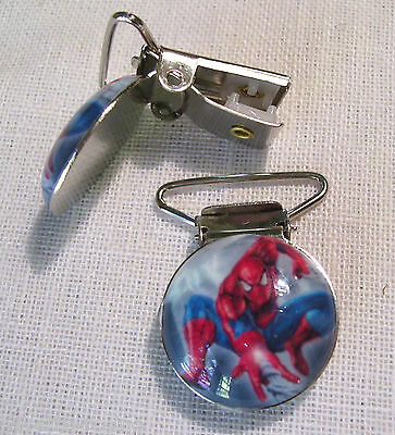 CLIP PINCE BRETELLE, CROCODILE, ATTACHE TÉTINE - SPIDERMAN MARBRÉ **2,5 x 4 cm**
