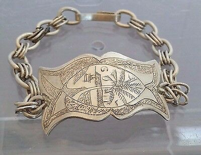 Solid Sterling Silver 925 Textured Guam Seal Chamorro Proa Palm Tree Bracelet