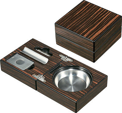 Visol Traveler Cigar Ashtray with Cigar Cutter and Punch, New in Box