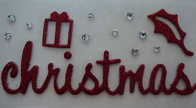 """2 for the price of 1 - Red Glitter Adhesive Chipboard Embellishment """"Christmas"""""""