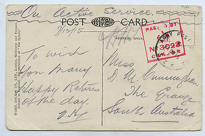1915 Ww1 Pu Postcard Oas Apo S26 Sent From Gallipoli 7/12/15 By Aif Soldier R50